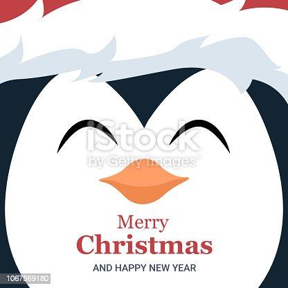 istock Folleto tarjeta navidad de cara de pingüino 1067569180
