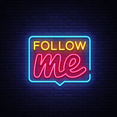 Follow Me Neon Text Vector. Follow Me neon sign, design template, modern trend design, night neon signboard, night bright advertising, light banner, light art. Vector illustration
