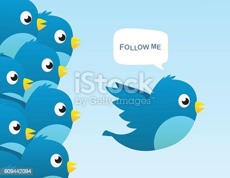 Social media bird vector illustration