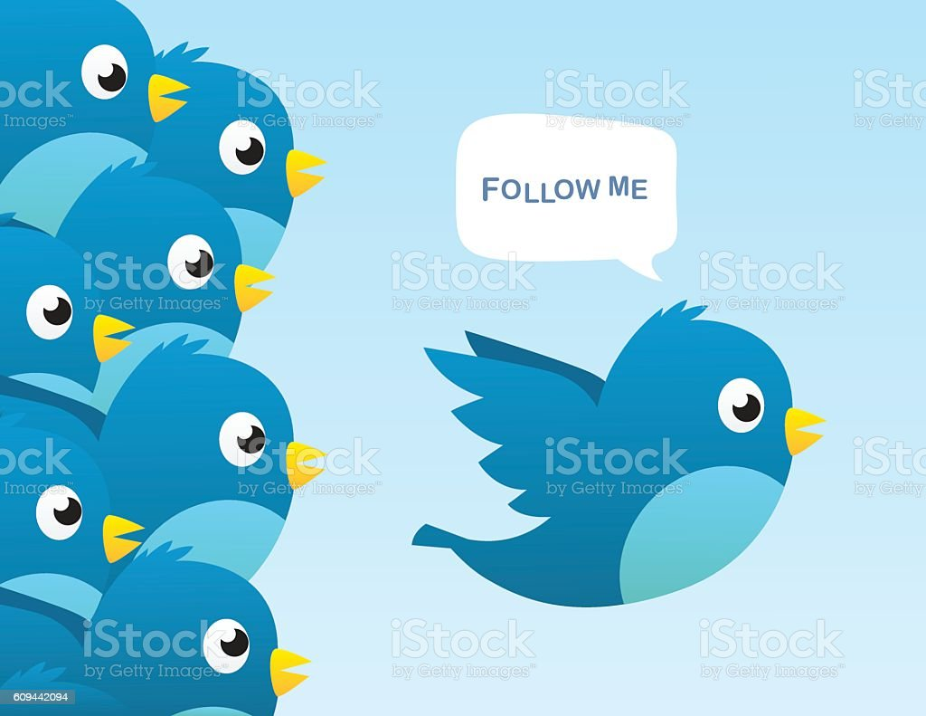 Follow me vector art illustration