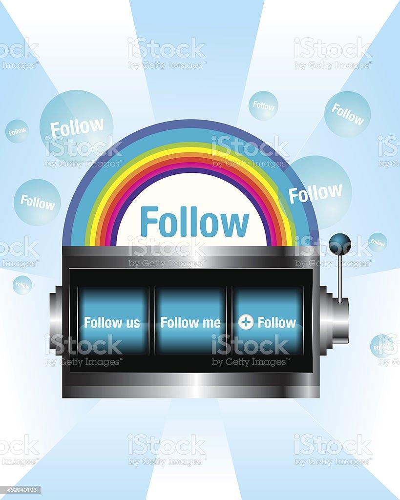 Follow slot machine vector royalty-free stock vector art