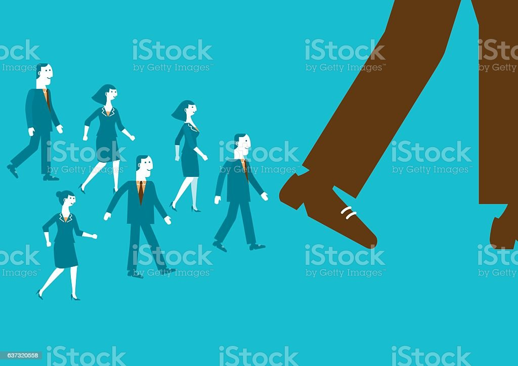 Follow The Business Giant | New Business Concept vector art illustration