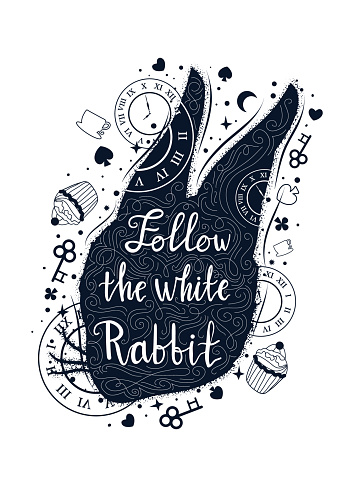Follow the white rabbit vintage illustration with rabbit's head. Alice in wonderland motifs. Tattoo art and double exposure style. Hand drawn lettering phrase.