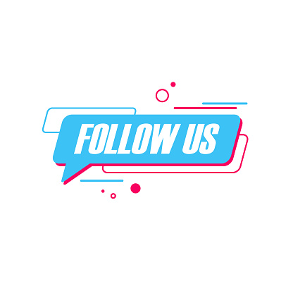 Follow US badge. Graphic design for social networks, promotion and advertising.