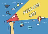 Follow us banner for social networks. Flat line contour illustration