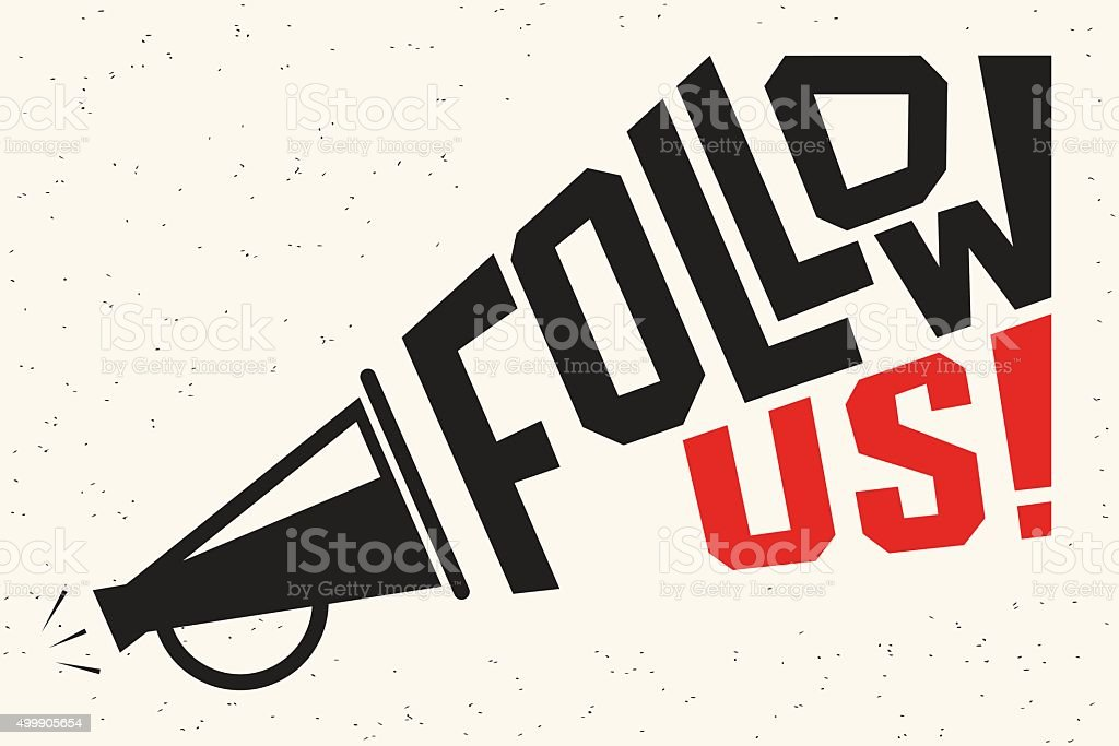 Follow us banner for social networks vector art illustration