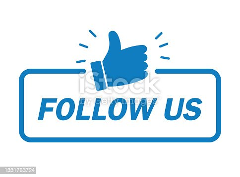 istock Follow us banner. Modern label with thumbs up icon. Vector illustration , flat design. 1331763724