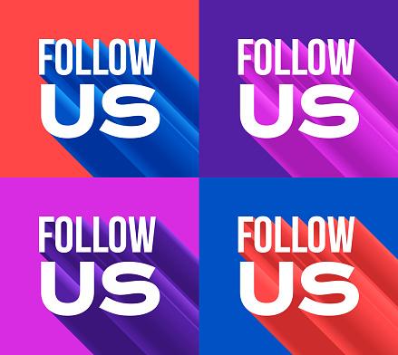 Follow Us Pop Art Modern 3D