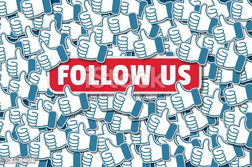 Follow us, subscribe button with a pile of social media networking likes, thumbs up. Follow Us illustration for followers, fans and influencers.