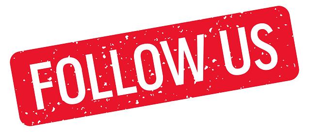 Follow Us - Stamp, Imprint, Seal Template. Vector Stock Illustration