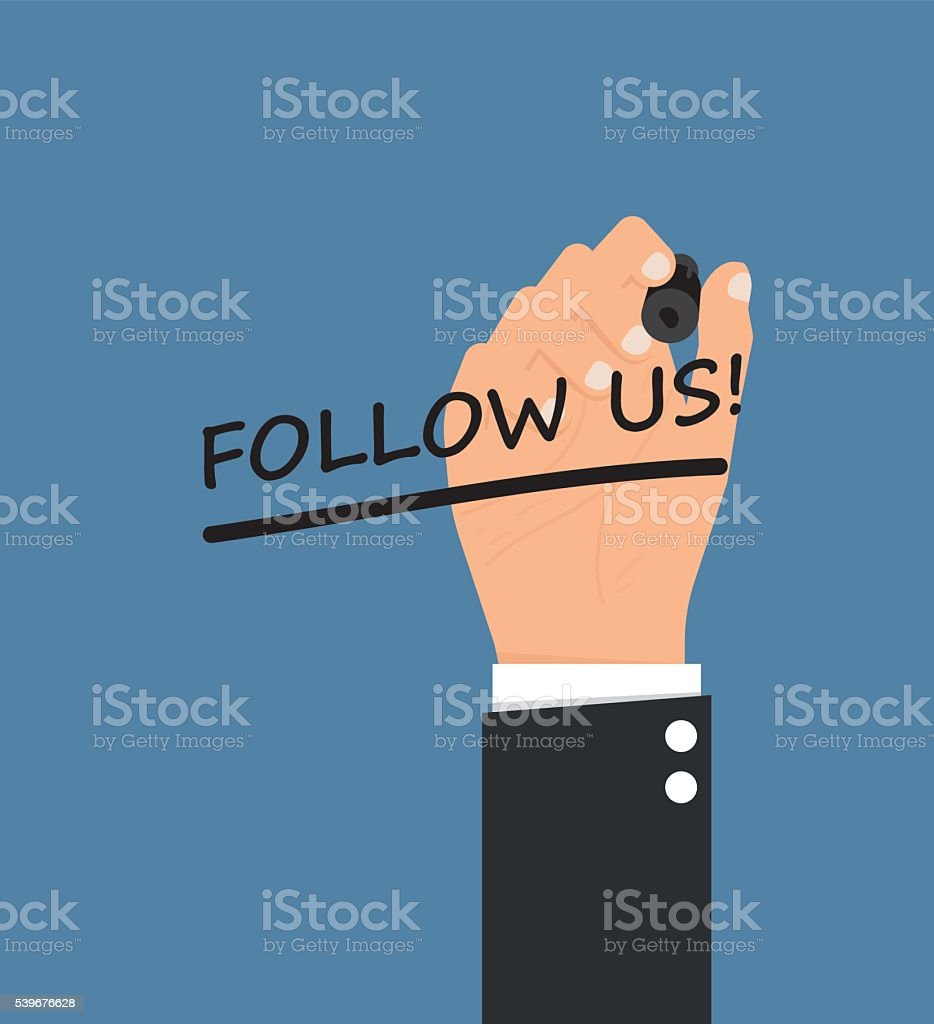 Follow us vector art illustration