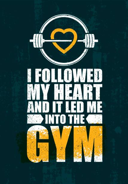 J'ai suivi mon coeur et il m'a conduit à la salle de Gym. Source d'inspiration d'entraînement Fitness Gym Motivation cite Illustration - Illustration vectorielle