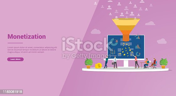 follower monetization with marketing sales funnel for website template or landing homepage banner - vector illustration