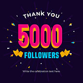 5000 followers card banner post template for celebrating many followers in online social media networks.
