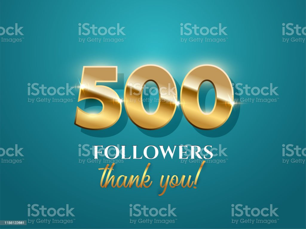 500 Followers Celebration Vector Banner With Text On Azure