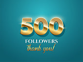 500 followers celebration vector banner with text. Social media achievement poster. 500 followers thank you lettering. Shiny gratitude text on azure gradient backdrop