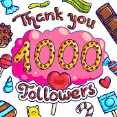 1000 followers greeting candy shop post template