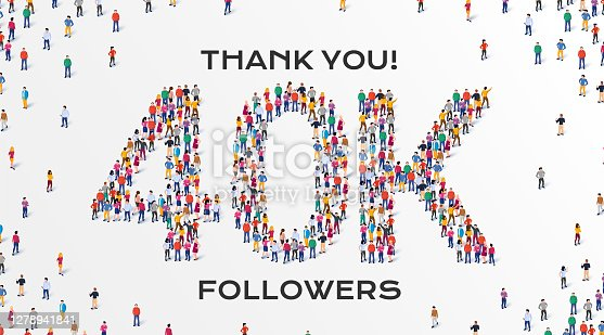 istock 40K Followers. Group of business people are gathered together in the shape of 40000 word, for web page, banner, presentation, social media, Crowd of little people. Teamwork. Vector illustration 1278941841