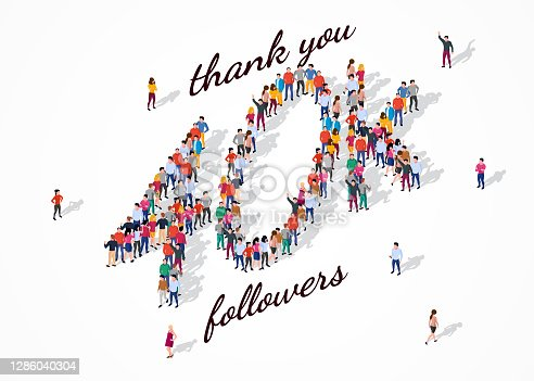 istock 40K Followers. Group of business people are gathered together in the shape of 40000 word, for web page, banner, presentation, social media, Crowd of little people. Teamwork. Vector illustration 1286040304