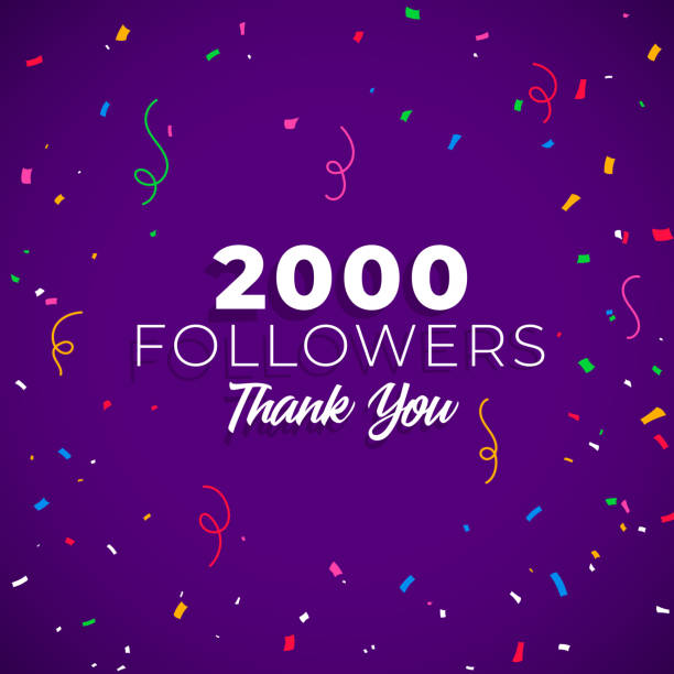 2000 followers network of social media - thank you background stock illustrations