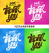 THANK YOU followers. Set of banners for social media with lettering and all digits. Modern brush calligraphy. Editable template for banner, poster, message, post. Vector illustration. EPS10