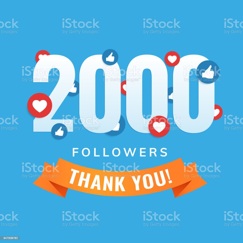 2000 Followers Social Sites Post Greeting Card Stock Vector Art