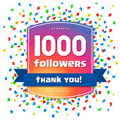 1000 followers Thank you design card