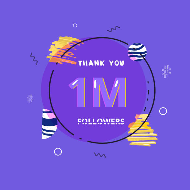 1M followers thank you post for social media. Vector illustration. 1M followers thank you post with round frame and decoration. 1000000 subscribers  banner with circular badge. Greeting card for social networks. Vector illustration. millionnaire stock illustrations