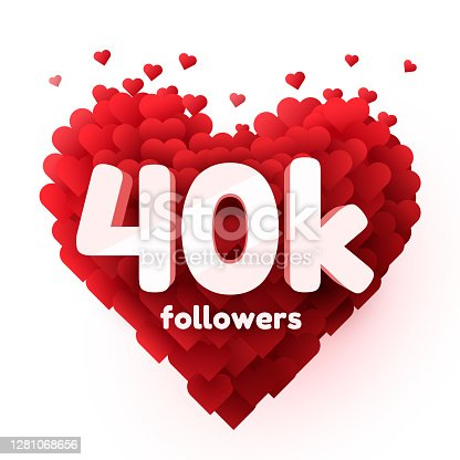 istock Followers thank you. Red heart for Social Network friends, followers, Web user Thank you celebrate of subscribers or followers and likes. 1281068656