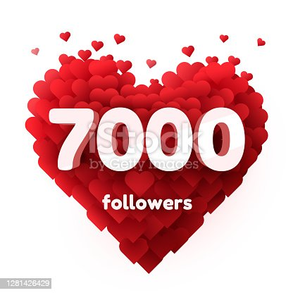 istock Followers thank you. Red heart for Social Network friends, followers, Web user Thank you celebrate of subscribers or followers and likes. 1281426429