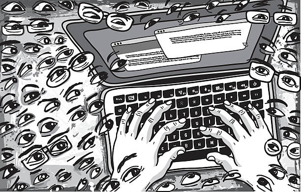 Followers Watching what is being Typed on Keyboard Illustration Followers Watching what is being Typed on Keyboard Illustration critic stock illustrations