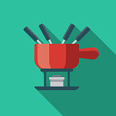 Fondue Flat Design Switzerland Icon