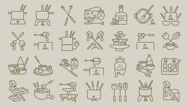 fondue-flache einfache linie kunst rahmenplanung, die icon set - fondue stock-grafiken, -clipart, -cartoons und -symbole