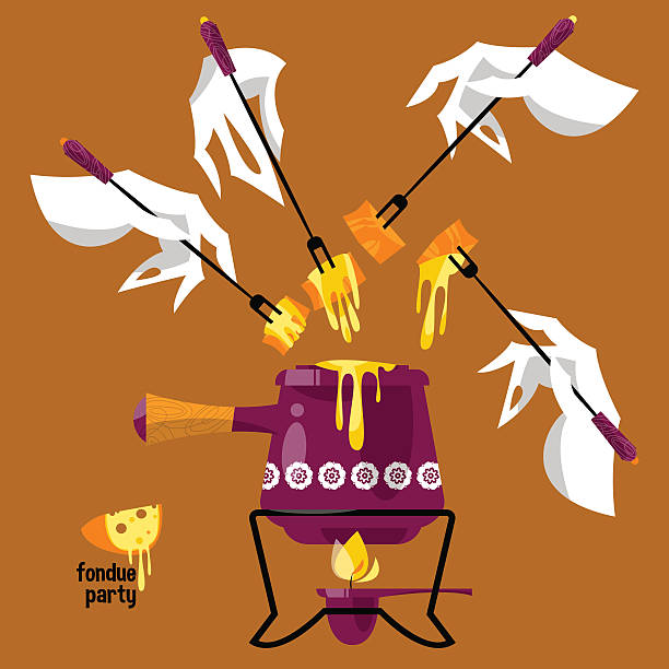 fondue-party. traditionelle schweizer gerichte. - raclette stock-grafiken, -clipart, -cartoons und -symbole