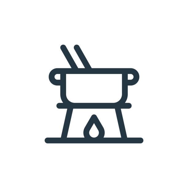 fondue-vektor-symbol isoliert auf weißem hintergrund. gliederung, dünne linie fondue-symbol für website-design und mobile, app-entwicklung. dünne linie fondue umriss-symbol-vektor-illustration. - raclette stock-grafiken, -clipart, -cartoons und -symbole
