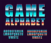 Font 80s vector. Set of vector letters in retro style. Game design.