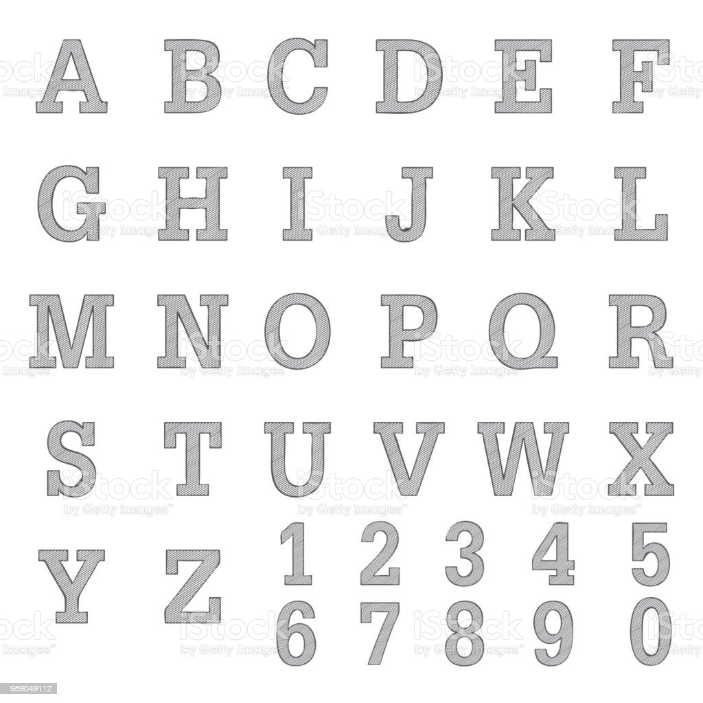 Font a to z and number design freehand pencil sketch stock