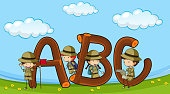 Font ABC with kids in boyscout uniform
