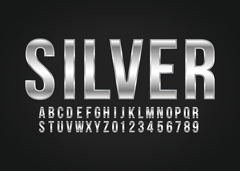 Font alphabet and number Silver effect vector