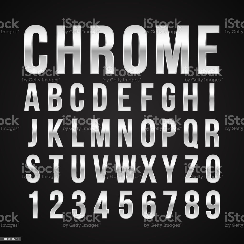 Font alphabet number chrome effect vector royalty-free font alphabet number chrome effect vector stock illustration - download image now