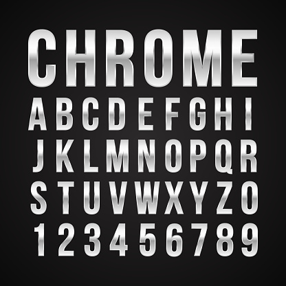 Font alphabet number chrome effect vector