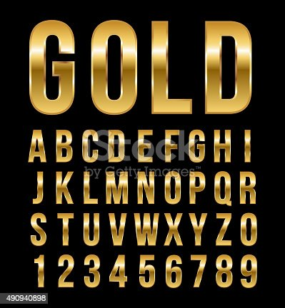 istock Font alphabet number gold effect vector 490940898