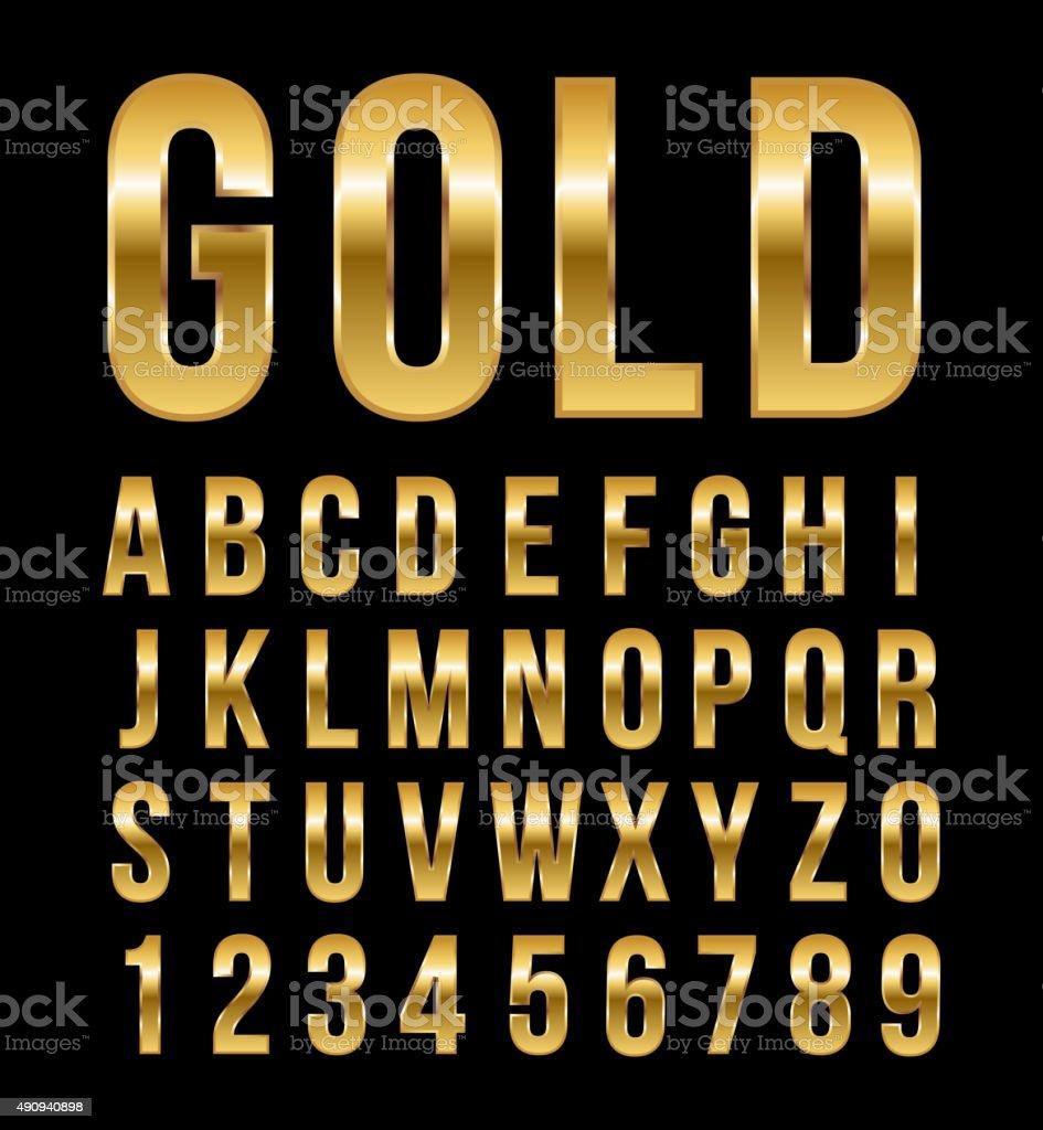 Fonte alfabeto de vetor de ouro efeito número - ilustração de arte em vetor
