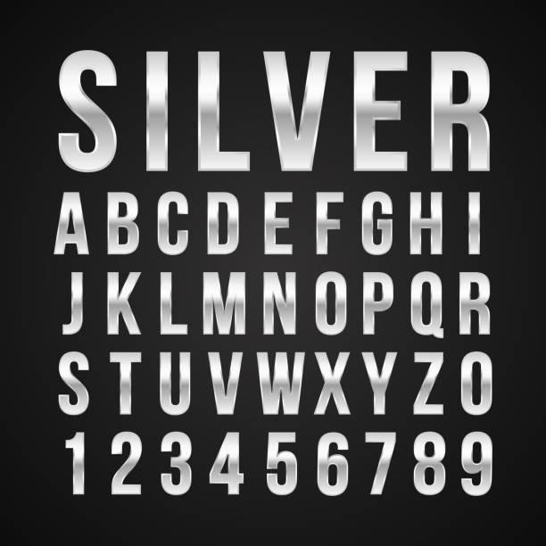 schrift alphabet nummer silberfarben-effekt vektor - silber stock-grafiken, -clipart, -cartoons und -symbole