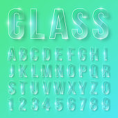 Font alphabet numbers transparent glass effect in vector format