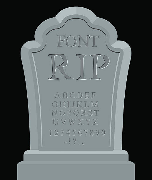 rip font. ancient carved on tombstone of abc. tomb alphabet. - tombstone stock illustrations, clip art, cartoons, & icons