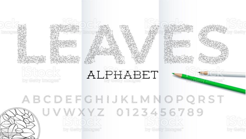 Ilustración De Fuente Y El Alfabeto De Contorno De Hojas