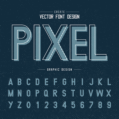 Font and alphabet vector, pixel letter design and graphic texture on dark blue background