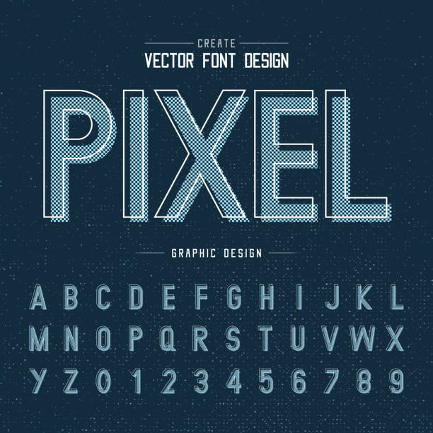 Font and alphabet vector, pixel letter design and graphic texture on dark blue background font and alphabetical vector on background, letter and text graphic art design. alphabet designs stock illustrations