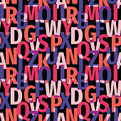 Font background seamless pattern. Typography lettering concept backdrop. Abstract geometric colorful vector ornament. Mosaic decorative wallpaper.
